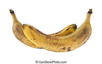 sfondo bianco, banane, maturo, isolato
