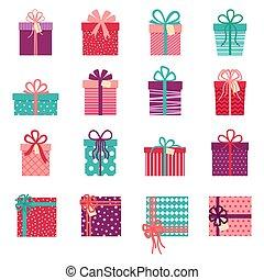 sfondo bianco, collezione, regalo, vettore, illustrazione, scatole