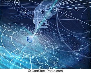 sfondo blu, grafico, astrologico