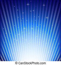 sfondo blu, scoppio, luce, sfavillante, stelle