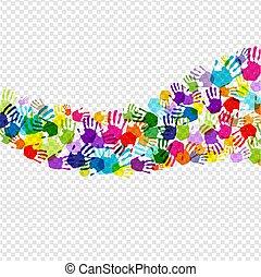 sfondo colore, mano, isolato, trasparente, stampa