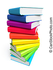 sfondo colore, pila, libri, bianco
