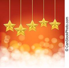 sfondo dorato, corde, rosso, stelle, blurry