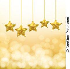 sfondo dorato, corde, stelle, appendere, blurry
