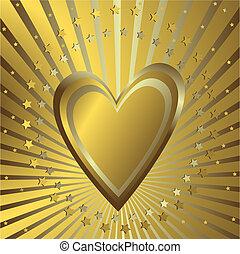 sfondo dorato, cuore