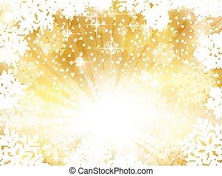 sfondo dorato, fiocchi neve, sfavillante, natale