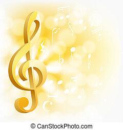 sfondo dorato, note, giallo, chiave, musicale