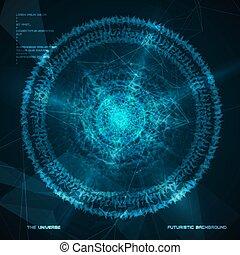 sfondo., futuristico, astratto, cerchio, vettore, fractal, fondo.