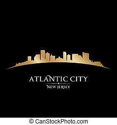 sfondo nero, atlantico, orizzonte, città, jersey, nuovo, silhouette
