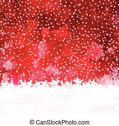 sfondo rosso, fiocchi neve, stelle, natale
