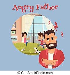 sguardo, arrabbiato, secondo, bambini padre, bandiera, gioco