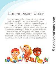 sguardo, colorito, su, interest., pubblicità, sagoma, opuscolo, bambini