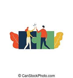 shake., donna, uomo, mano, puzzle, associazione, concetto