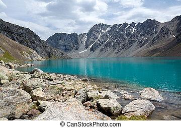 shan, kyrgyzstan, tien, lago, ala-kul, maestoso