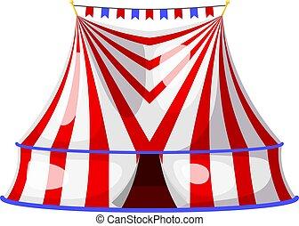 shapito, arte, intrattenimento, circo, circus., grande, fondo., vettore, illustrazione, bianco, flags., strisce, tenda