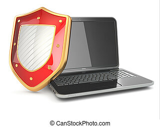 shield., laptop, concept., sicurezza, internet