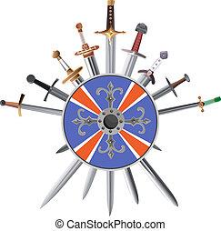 shields., crosswise, spade, croce
