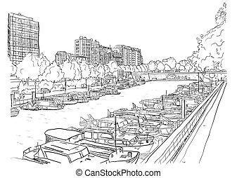 ships., fiume, arginamento