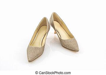 shoes., tallone, dorato, alto