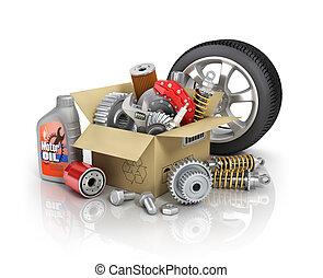 shop., auto, cardbox., st, parti, automobilistico, cesto