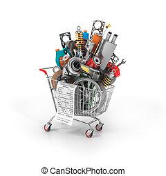 shop., auto, parti, trolley., automobilistico, cesto, store.