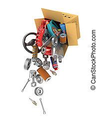 shop., auto, volare, boxes., autoparts., parti, automobilistico, cesto, store., cartone