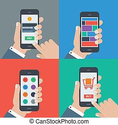shopping, appartamento, mobile, pagamento, disegno, sensibile