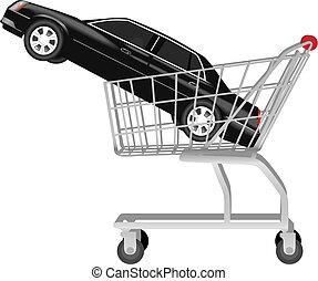 shopping, automobile, -, carrello, nero, auto, acquisto