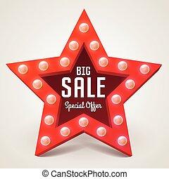 shopping, banner., grande, cornice, vendita, vettore, retro, luce, stella, bulbo