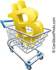shopping, bitcoin, carrello, concetto