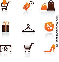 shopping, collezione, icone