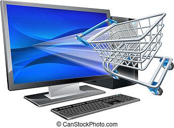 shopping, concetto, computer