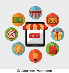 shopping, disegno, vendita