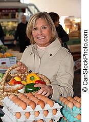 shopping, donna, mercato locale
