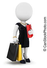 shopping donna, persone, va, bianco, 3d