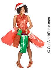 shopping, donna, regalo, lotto, etnico, natale