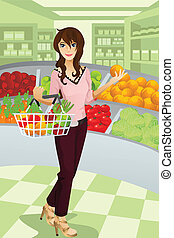 shopping drogheria, donna