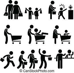 shopping famiglia, vendita, acquirente, persone