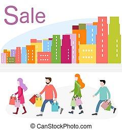 shopping, grande, concept., city., vendita