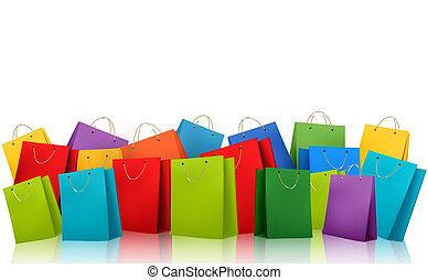 shopping, illustration., colorito, concept., scontare, vettore, fondo, bags.