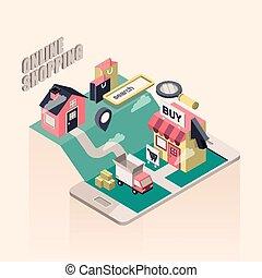 shopping, illustrazione, isometrico, linea, appartamento, 3d