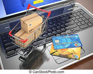shopping, laptop., carrello, credito, e-commerce., cartelle