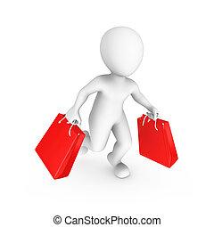 shopping, persone., vendita, piccolo, concept., 3d