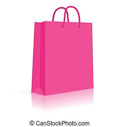 shopping, pink., corda, borsa, vettore, carta, vuoto, handles.