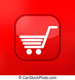 shopping, redigere, eps10., vettore, facile, icon., rosso