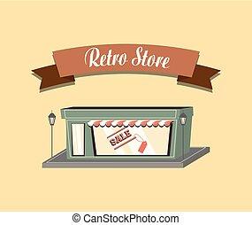 shopping, retro, negozio