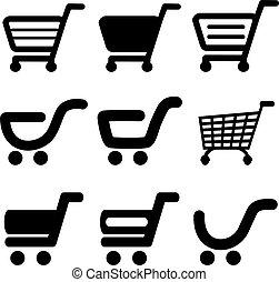 shopping, semplice, bottone, carrello, vettore, nero, articolo, carrello