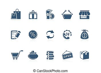 shopping, serie, piccolo, -, icone