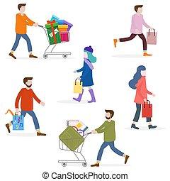 shopping., shopping, persone, grande, concept., vendita, portare