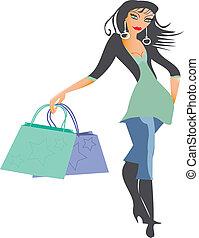shopping, signora